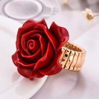 Super Huge Romantic Rose Flower Design Rose Gold Plated Adjustable Rings