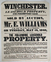 1840 Auction Poster Properties WINCHESTER Globe Inn Upper Brook Street Chesil