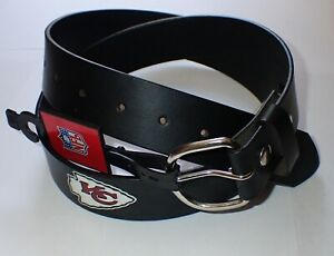 VINTAGE KANSAS CITY CHIEFS LEATHER BELT WITH SNAPS/REMOVABLE BUCKLE SIZE 40
