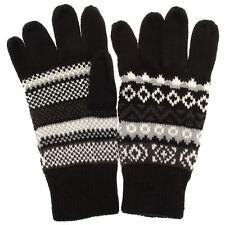 Mens Black with Light Grey/White Fair Isle Pattern Gloves RJM GL134