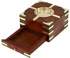 Handmade Indian Wooden Ashtray - 11 Cm Outdoor Ashtrays - With Cigarette Case -