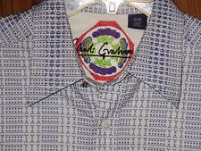 ROBERT GRAHAM Geometric Blue Stripe Cotton French Cuffs Long Sleeve Shirt Mens M