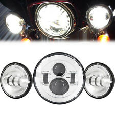 "7"" Daymaker Headlight + 4.5"" LED Passing Lights Fit Harley Electra Glide FLHTC"