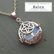 Silver Plated Tree Of Life Cage, Pentagram & Opalite Disc Pendant Wicca Pagan