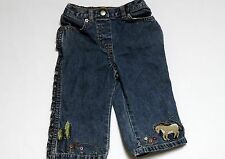 "Gymboree ""Rocky Mountain"" Horse & Ruffle Denim Blue Jeans, 12-18 mos."