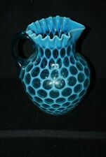 RARE VICTORIAN NORTHWOOD PHOENIX BLUE OPALESCENT HONEYCOMB PITCHER 1880S