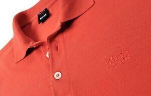 HUGO BOSS Sz S Orange Regular Fit Polo Shirt Chest Logo