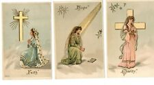 ARTIST A MAILICK SET OF FAITH, HOPE AND CHARITY WITH GOLDLEAF POSTCARDS UNPOSTED