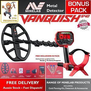 "Minelab Vanquish 540 Metal Detector | Gold Detecting | V12 12"" Coil | BONUS PACK"