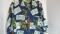 M E Sport Aloha Hawaiian Shirt Blue Leaves Floral Green Size XL Postcard