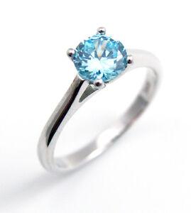 Sterling Silver Ring Solitaire 1ct Aquamarine Diamond Unique