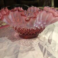 """VINTAGE FENTON HOBNAIL CRANBERRY OPALESCENT ART GLASS BOWL, 9 1/2"""""""