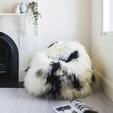 ICELANDIC WHITE BLACK SHEEPSKIN SHEEP SKIN WOOL FUR SHAGGY LONG HAIR BEAN BAG