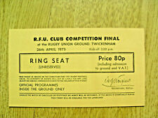 More details for bedford v rosslyn park 1975 rfu club competition final used rugby ticket