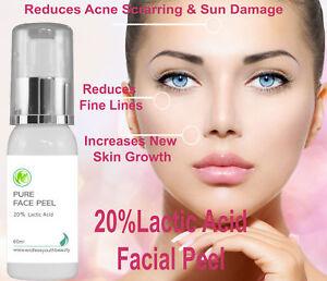 20% Professional Grade Lactic Acid Facial Peel Wrinkles Acne Age Sun Spots 60 ml