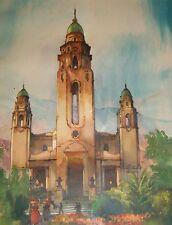 AL METTEL PANTHEON PLAZA OLD CHURCH GRAVE TOMB CARACAS VENEZUELA LITHO PRINT ART