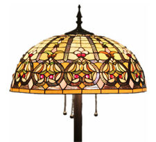 """Tiffany Style Stained Glass Floor Lamp """"Grandeur"""" w/ 20"""" Shade -FREE SHIP IN US"""