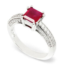Square Ruby Solitaire Ring with Diamonds 14K White Gold 1.27ctw
