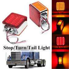 2X Double Stud Mount Truck Pedestal Cab Fender Dual Face Turn Signal Light 39LED