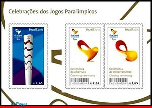 3335 BRAZIL 2016 PARALYMPIC GAMES, RIO 2016, TORCH, CEREMONYS, RHM B-195 S/S MNH