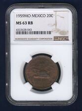MEXICO ESTADOS UNIDOS 1959 20 CENTAVOS COIN CERTIFIED UNCIRCULATED NGC MS63-RB