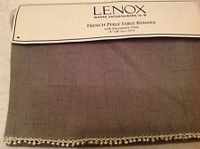 Lenox Table Runner Gray With Trim (1)100% Polyester 14 X 90 Nwt