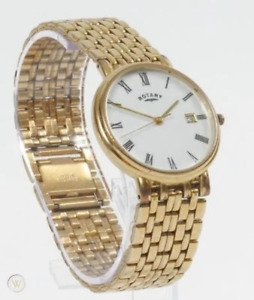 ROTARY GOLD TONE WHITE DIAL ANALOG CHAIN LINK BRACELET WATCH GB5619