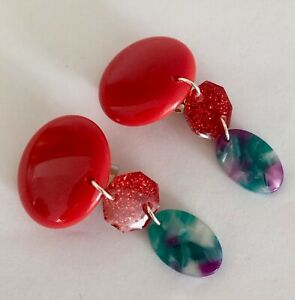 Vintage Up Cycled large Acrylic Red Clip Earrings Sparkle Marble Drops Statement