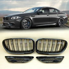 2012-2016 Fit BMW F10 4D M5 Look Front Grille + Fender Cover M5 Side Shiny Black