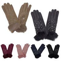 Women's Ladies Diamante Snowflakes Winter Warm Fashion Gloves New UK