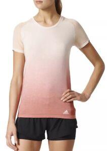 $80 NWT Adidas Pknit Tee DD W Womens Running Shirt White Pink Sz XL AZ2896