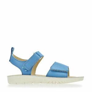 Start-Rite Buzz, Blue Leather Girls Riptape Sandals