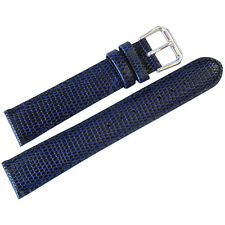 19mm deBeer Mens Royal Blue Lizard-Grain Leather Watch Band Strap