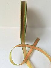 KA28 May Arts Orange//Lt Green 1//4 Inch Woven Iridescent Ribbon 4 Yards