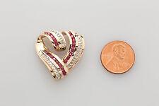 Designer $2400 3ct Natural RUBY Diamond 14k Yellow Gold HEART Pendant