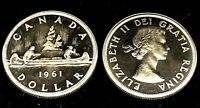 1961 Uncirculated $1.00 Canada Silver Dollar .800 Silver • Proof Like Cameo