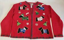 Vintage Heirloom Collectibles Christmas Full Zip Cardigan Sweater Schnauzer Xmas