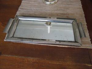uraltes kleines Spiegeltablett Metall Holz Frankreich Shabby chic