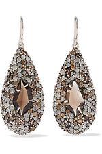ALEXIS BITTAR Fine SMOKY MARQUISE TEARDROP EARRINGS Pave Diamonds Smoky Quartz