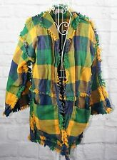 Handmade Ladies Jacket Size PM Plaid Multi-Colored Open Front Pockets 3/4 Sleeve