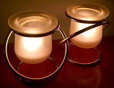 PartyLite GEMINI P7106 Glass Votive Candle Holders BUNDLED W/ 6 PK Rsbry Votives