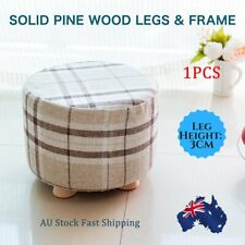 Small Round Footstool Wood Pouffe Chair Ottoman Foot Stool Padded Seat Foot Rest