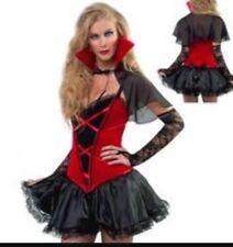 Vampire Dress Costume Fancy Dress L UK 14  Dress Cape Gloves Lace Red Black