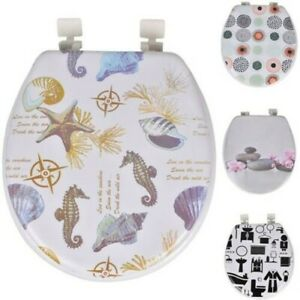 """17"""" Toilet Seat Padded Soft Printed With Strong Universal Fittings Easy Clean"""