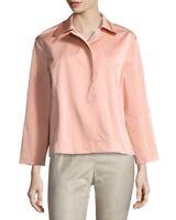 Lafayette 148 Tavi Snap Front Coral Satin Sateen Peach Blazer Jacket Size Large