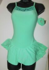 Ice Skate Dance Dress Skirted Leotard Lace accent camisole Mint Green Ch/Ladies