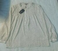 NWT Adrianna Papell Women's Ruffle Neck Long Sleeve Blouse Ivy w/black  Size M