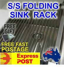 Stainless steel folding drain rack for kitchen sink