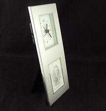 "Aluminum Photo Frame Desk Clock CL-164 ,Inovative Design, Holds 2"" x 3"" Picture"