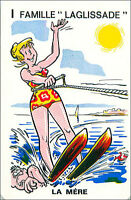 Ski nautique Water skiing SPORT PLAYING CARD CARTE À JOUER HUMOR HUMOUR 60s